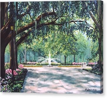 Spring In Forsythe Park Canvas Print by Stanton Allaben