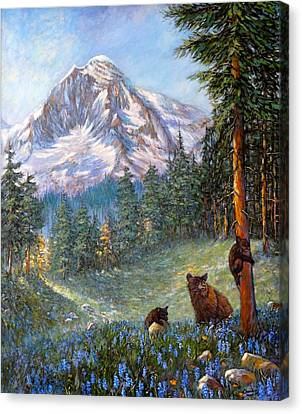 Canvas Print featuring the painting Spring In The Cascades by Charles Munn