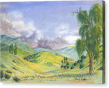 Canvas Print featuring the painting Spring In The Corona Hills by Dan Redmon