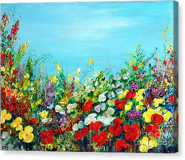 Canvas Print featuring the painting Spring In The Garden by Teresa Wegrzyn