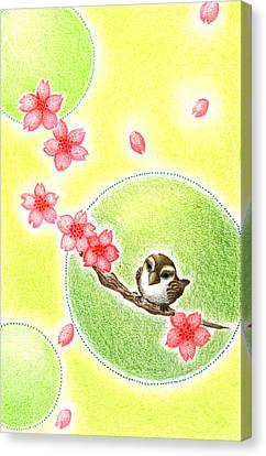 Canvas Print featuring the drawing Spring by Keiko Katsuta