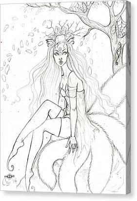Spring Kitsune Canvas Print by Coriander Shea