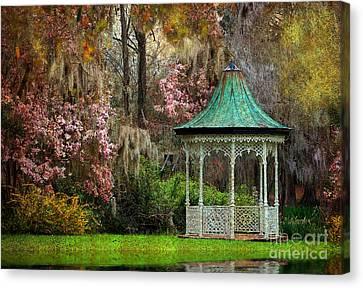 Spring Magnolia Garden At Magnolia Plantation Canvas Print by Kathy Baccari