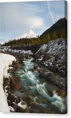 Spring Melt At The White River Canvas Print by Ryan Manuel