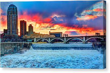 Spring Melt On The Mississippi Canvas Print by Amanda Stadther