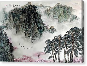 Spring Mountains And The Great Wall Canvas Print