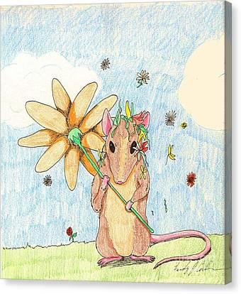 Spring Mouse Canvas Print by Wendy Coulson
