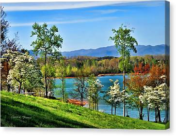 Dogwood Lake Canvas Print - Spring On The Lake by Kenny Francis