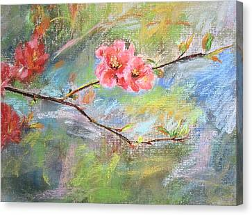 Canvas Print featuring the painting Spring Peach Blosom by Jieming Wang
