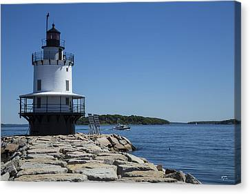 Spring Point Ledge Light Canvas Print by Karol Livote