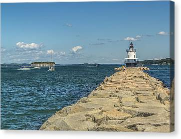 Canvas Print featuring the photograph Spring Point Ledge Lighthouse by Jane Luxton