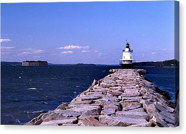 Spring Point Ledge Lighthouse Canvas Print by Skip Willits