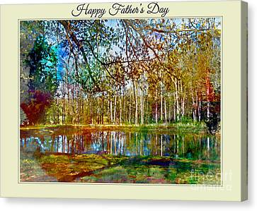 Spring Pond Photoart Father's Day Canvas Print by Debbie Portwood