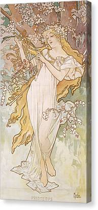 Spring Printemps Canvas Print by Alphonse Marie Mucha