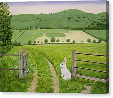 Gate Canvas Print - Spring Rabbit by Ditz