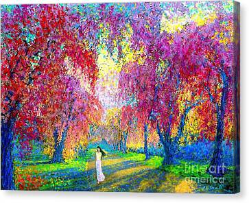 Spring Rhapsody, Happiness And Cherry Blossom Trees Canvas Print by Jane Small