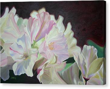 Canvas Print featuring the painting Spring Rhodys by Nancy Jolley