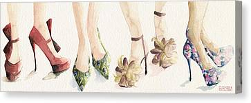 Brown Canvas Print - Spring Shoes Watercolor Fashion Illustration Art Print by Beverly Brown Prints