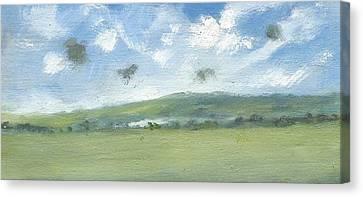 Spring Sky Bembridge Down Canvas Print by Alan Daysh