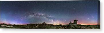 Spring Sky Over The Badlands Panorama Canvas Print