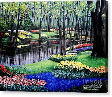 Canvas Print featuring the painting Spring Spendor Tulip Garden by Patricia L Davidson