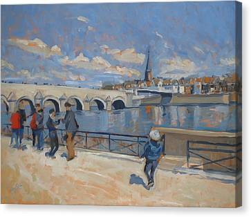 Spring Stroll Along The Maas In Maastricht Canvas Print by Nop Briex