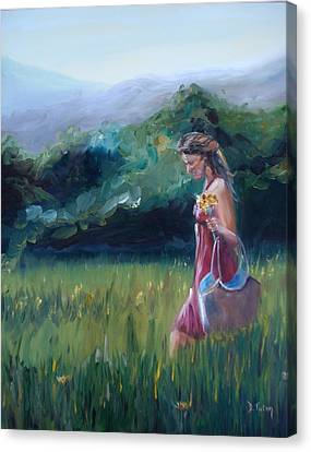 Canvas Print featuring the painting Spring Stroll by Donna Tuten
