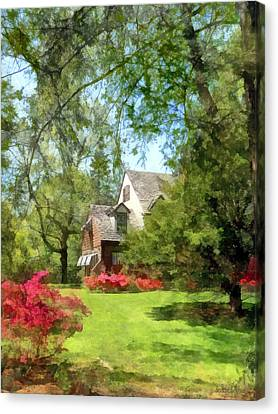 Spring - Suburban House With Azaleas Canvas Print by Susan Savad