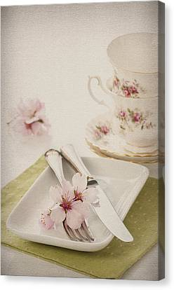 Spring Table Setting Canvas Print by Amanda Elwell