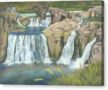 Spring Thaw At Shoshone Falls Canvas Print by Harriett Masterson