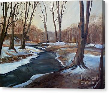 Canvas Print featuring the painting Spring Thaw by Sally Simon