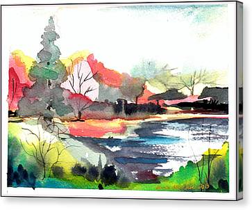 Dogwood Lake Canvas Print - Spring Time On The Farm by Mindy Newman
