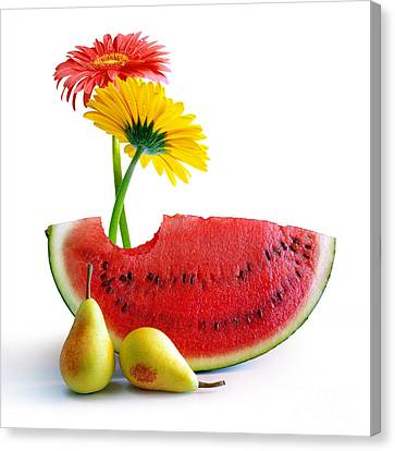 Fiber Canvas Print - Spring Watermelon by Carlos Caetano