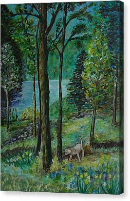 Spring Woodland With Dog - Painting Canvas Print
