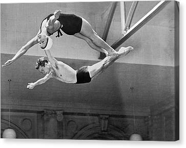 Springboard Diving Champions Canvas Print by Underwood Archives