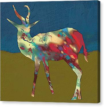 Springbok Wild Animal Stylised Pop Art Drawing Potrait Poster Canvas Print