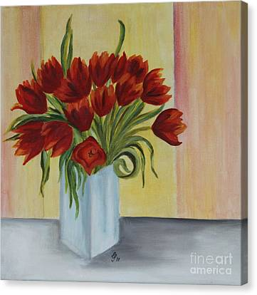 Springflowers - Oil Painting Canvas Print by Christiane Schulze Art And Photography