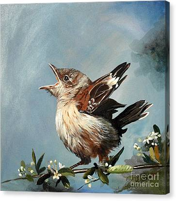 Spring's Promise - Mockingbird Baby Canvas Print by Suzanne Schaefer