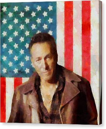 Springsteen American Icon Canvas Print by Dan Sproul