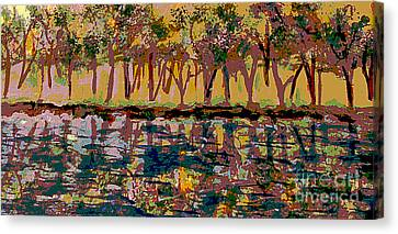 Springtime Along The Muddy River Canvas Print by Rita Brown