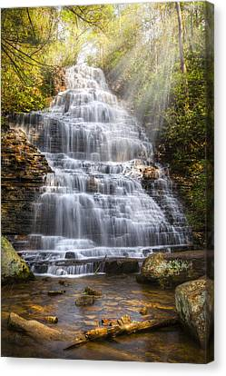 Springtime At Benton Falls Canvas Print by Debra and Dave Vanderlaan
