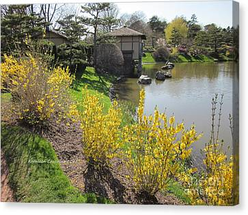 Springtime At The Japanese Gardens Canvas Print by Kathie Chicoine