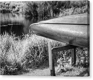 Springtime Canoe Bw Canvas Print by Carolyn Marshall