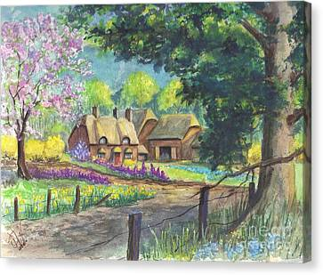 Springtime Cottage Canvas Print
