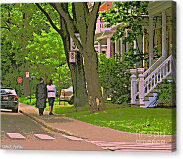 Springtime Stroll Through Beautiful Tree Lined Outremont Montreal Street Scene Art By Carole Spandau Canvas Print by Carole Spandau