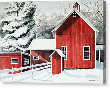 Springwater Barns Canvas Print by Joan Hartenstein