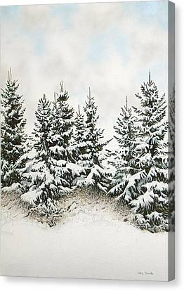 Spruce-trees In Winter Canvas Print by Conrad Mieschke