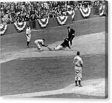 Brooklyn Dodgers Canvas Print - Spud Chandler Is Out At Third In The Second Game Of The 1941 Wor by Underwood Archives