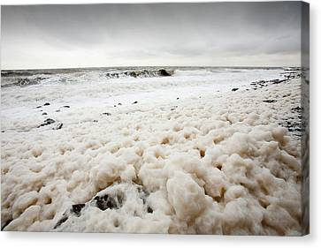 Spume From Storm Waves Canvas Print by Ashley Cooper
