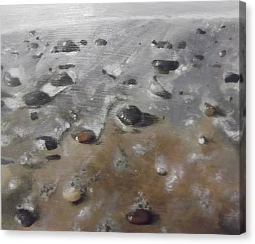 Canvas Print featuring the painting Spurn Point Beach by Cherise Foster